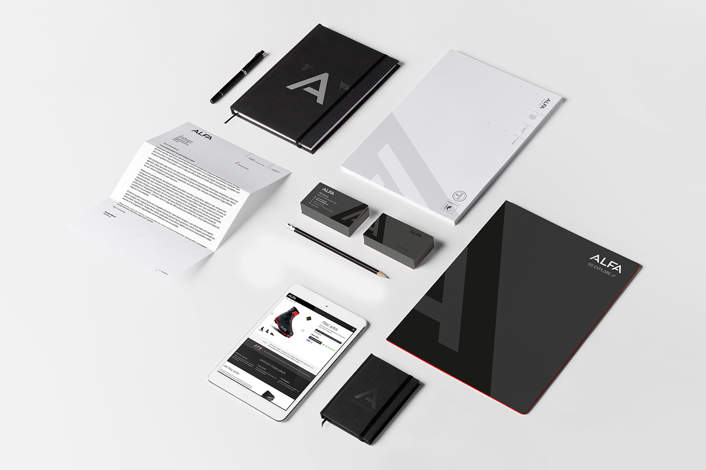 Alfa stationary. Letter, businesscards and notebook.