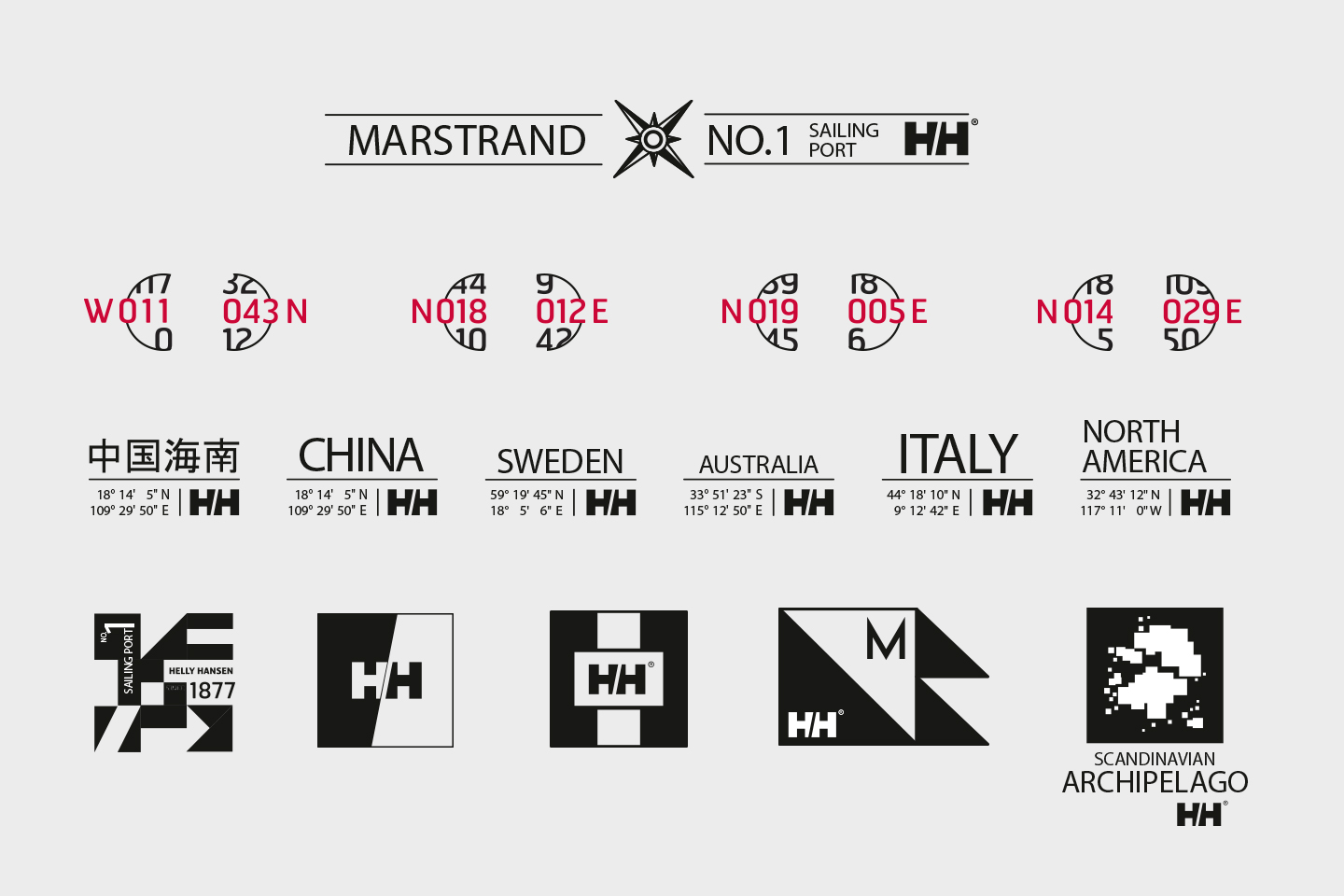 Helly Hansen graphics of marstrand sailing port. China, sweden, australia, italy and north america