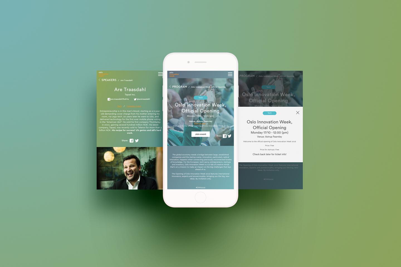 Oslo Innovation Week website on iphone.
