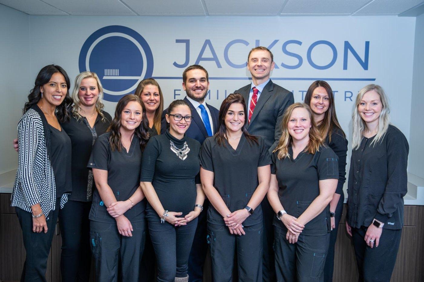 Jackson Family Dentistry Team Photo in the lobby