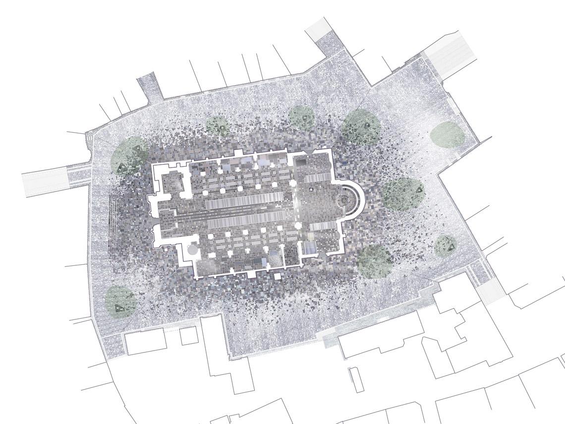 En grafisk plan over hvordan kirkens gulv fortsætter ud på den omkringliggende plads, der er blevet etableret