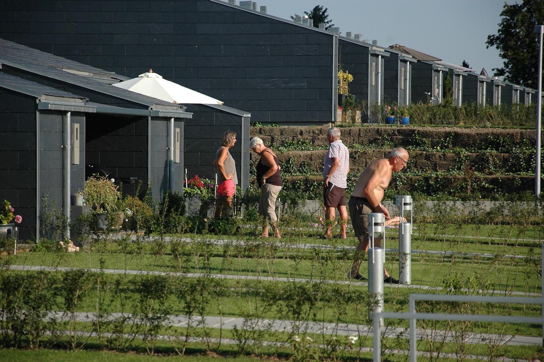 Billedet viser hvordan beboerne mødes på kryds og tværs på grund af havernes lave hække.