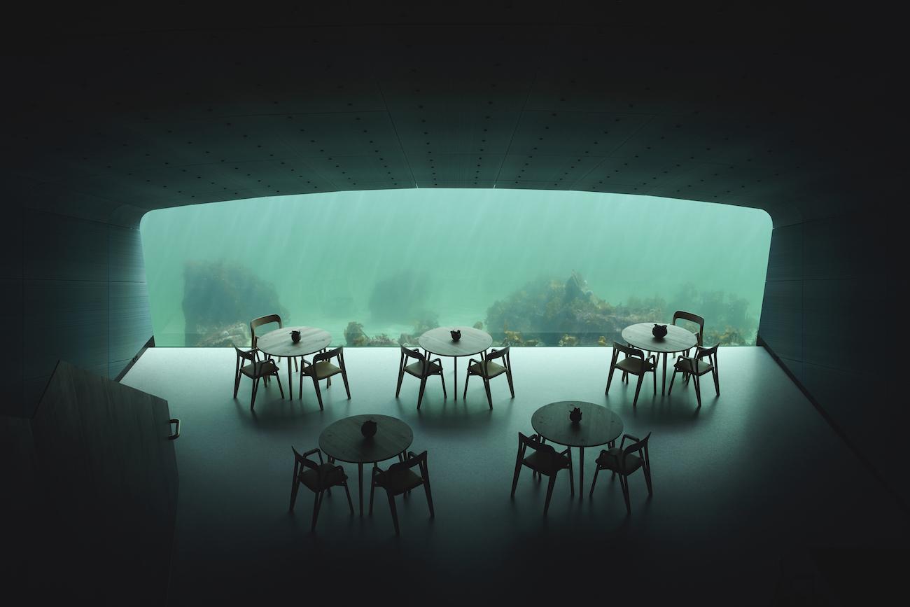 Her vises restaurantens spiseområde, mens det indendørs lys er tændt og lokalet kun lyses op af lys installeret ude i havet. Det store vindue er i midten og giver udsyn direkte ud i det maritime liv.