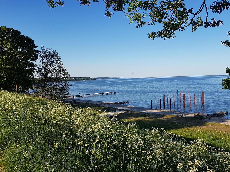 Et billede der viser Havfruefløjternes mere afsides placering væk fra den mere offentlige del af Østerstrand