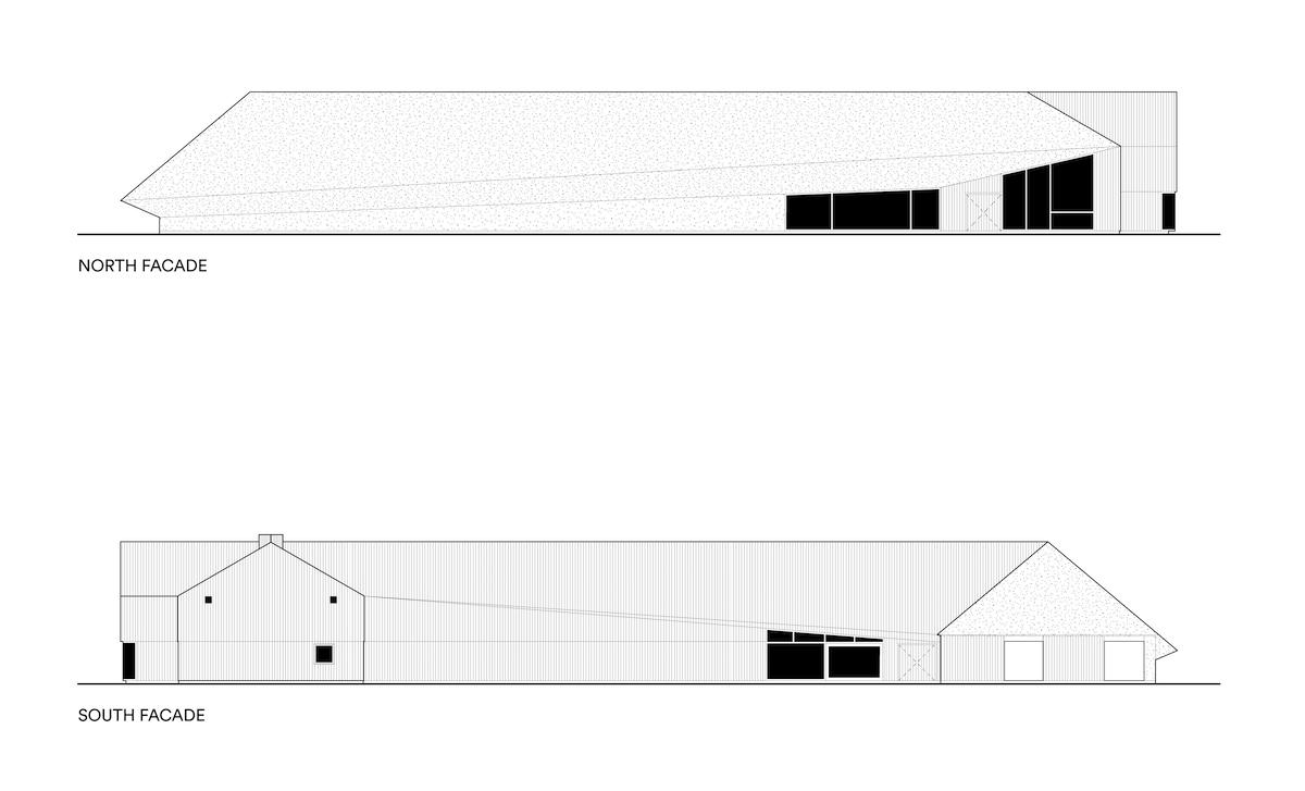 Opstalten viser en teknisk tegning af Vadehavscentrets ankomstparti og facade.