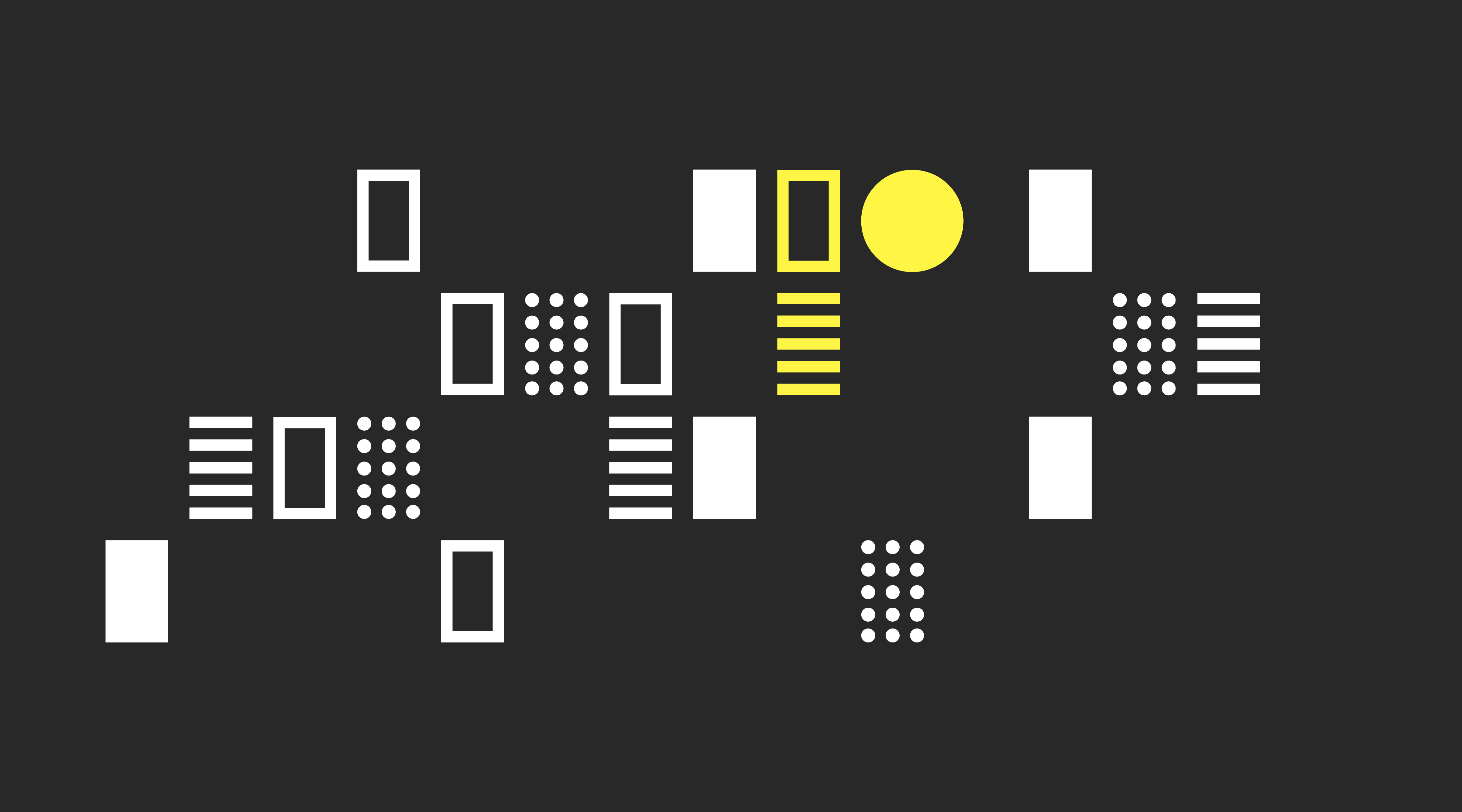 Billede af Rumsans grafik i farverne sort, gul og hvid.