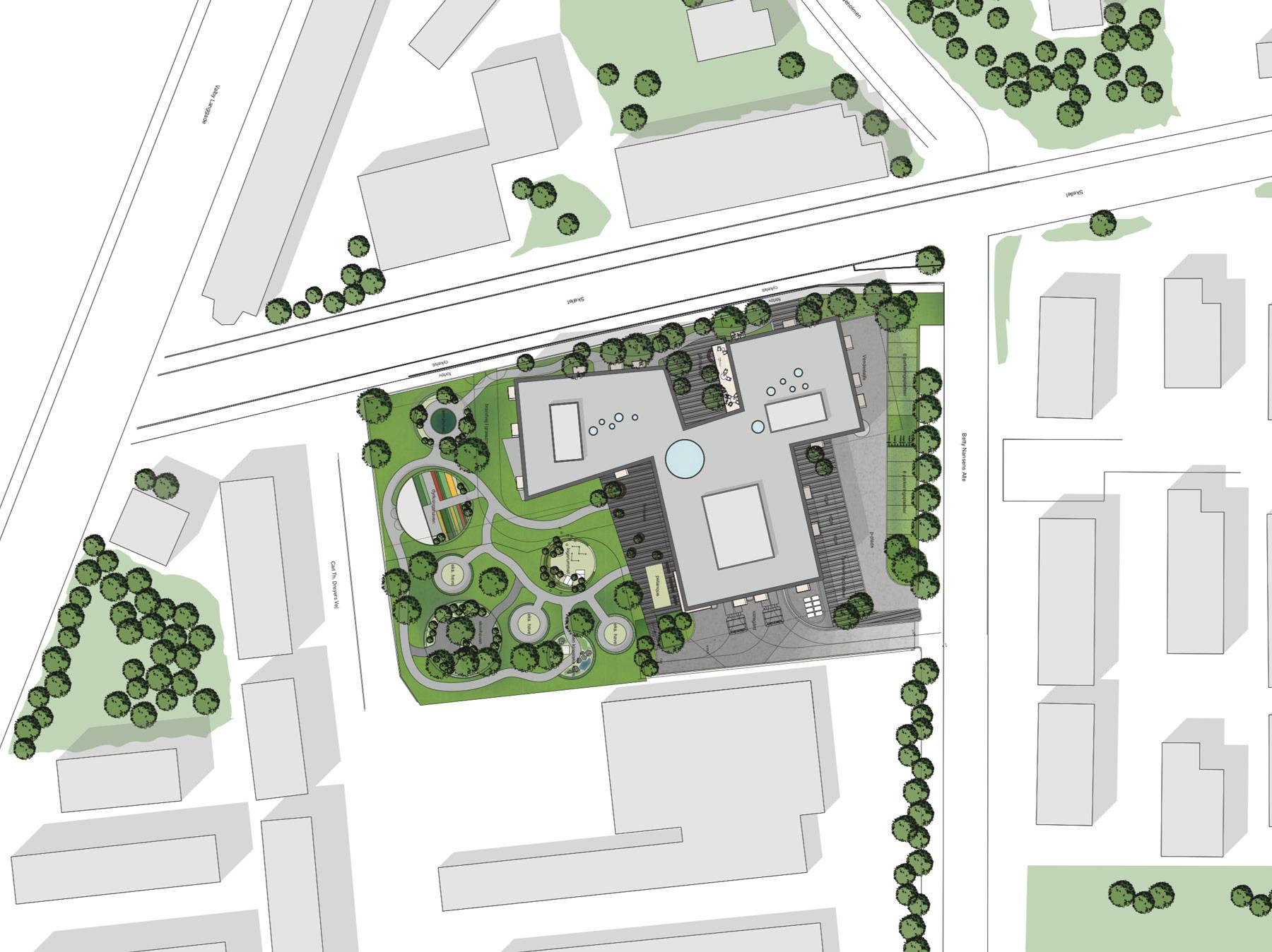 Billedet viser situationsplanen for plejecenteret