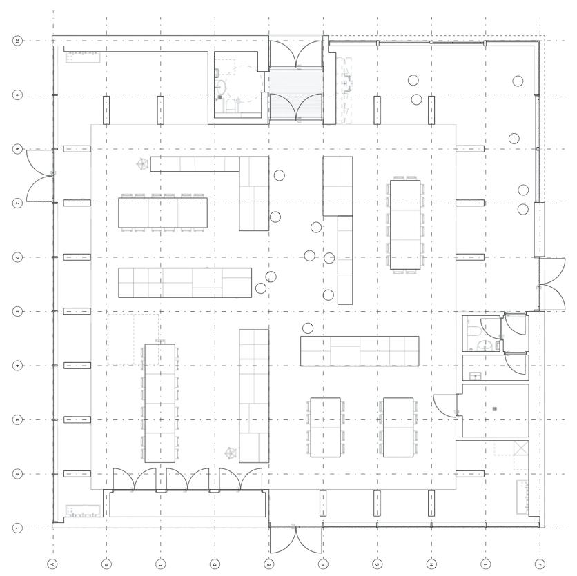 Plantegning af Kunstens hus som viser indretningsforslag.