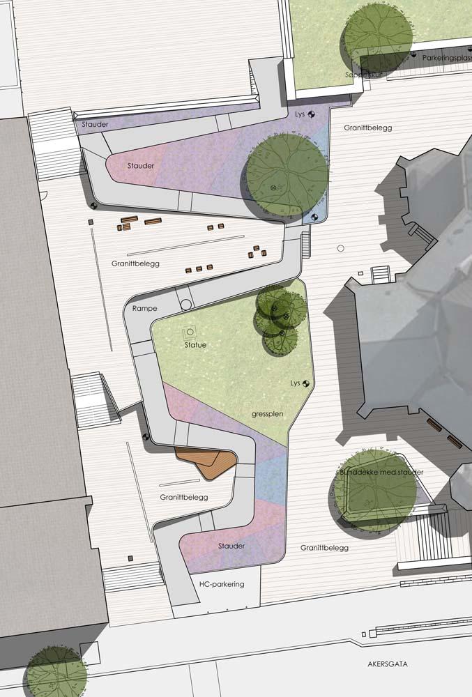 Plantegning af pladsen, som viser opholdsmulighederne og de grønne arealer.