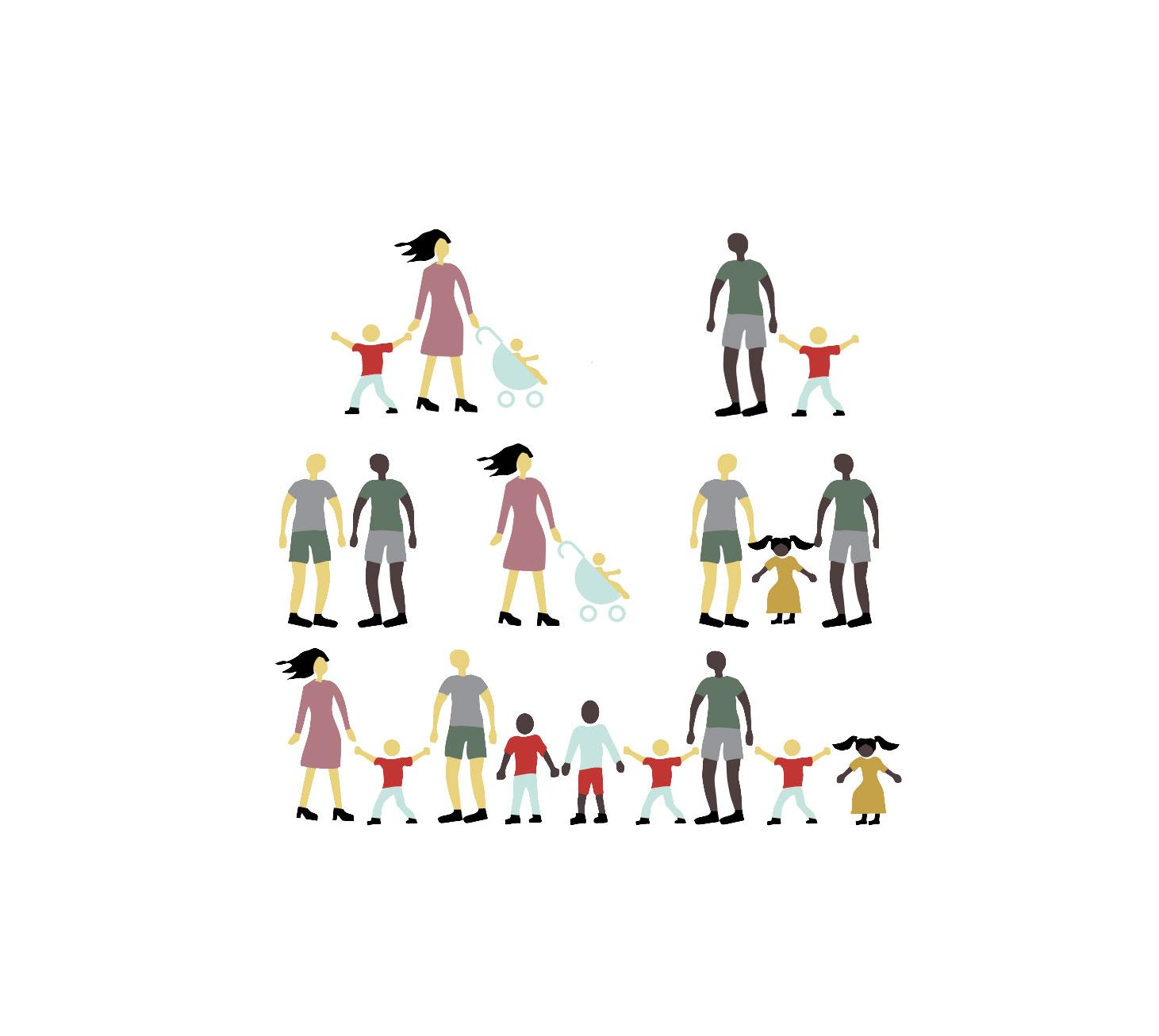 Illustration af forskellige familieformer, par og en børnehave