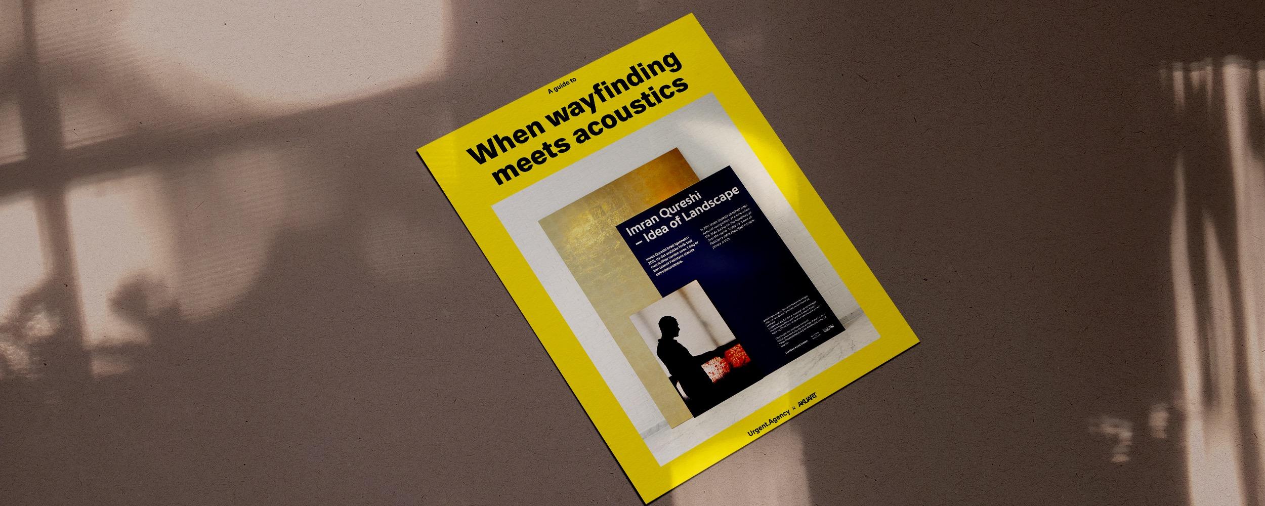 Gul pamflet hvorpå der står When wayfinding meets acoustics