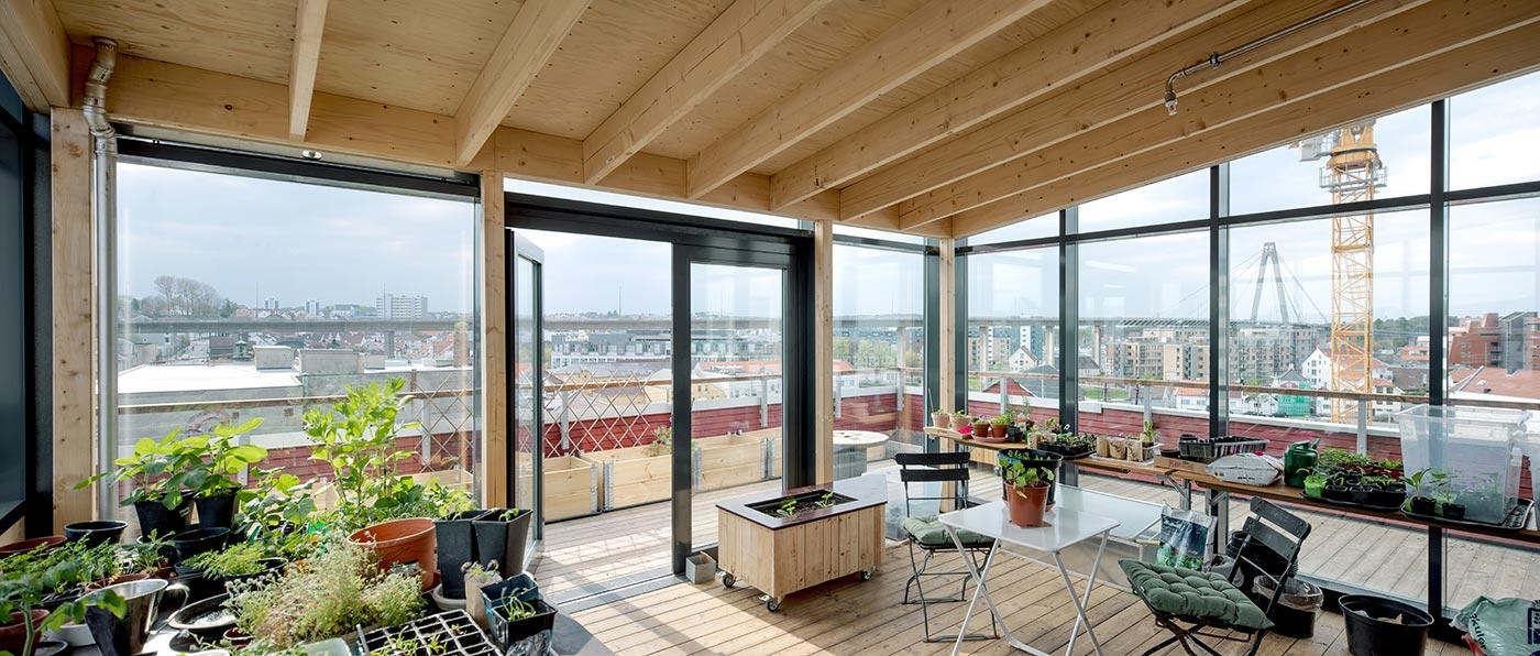 Tagterasse med indeareal indhyldet i glasparti. På indeareal står der planter, to havestole og et bord. Gennem glasparti er der udsigt udover by