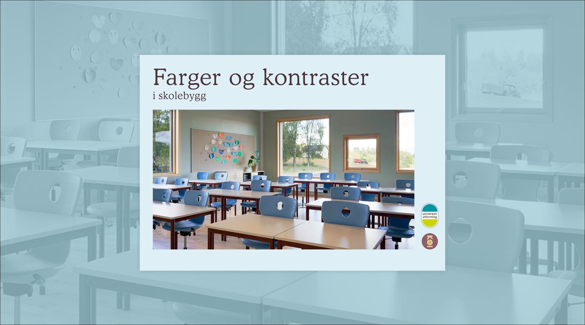 Forside fra den digitale håndbog om farver og kontrast i skolebyggeri