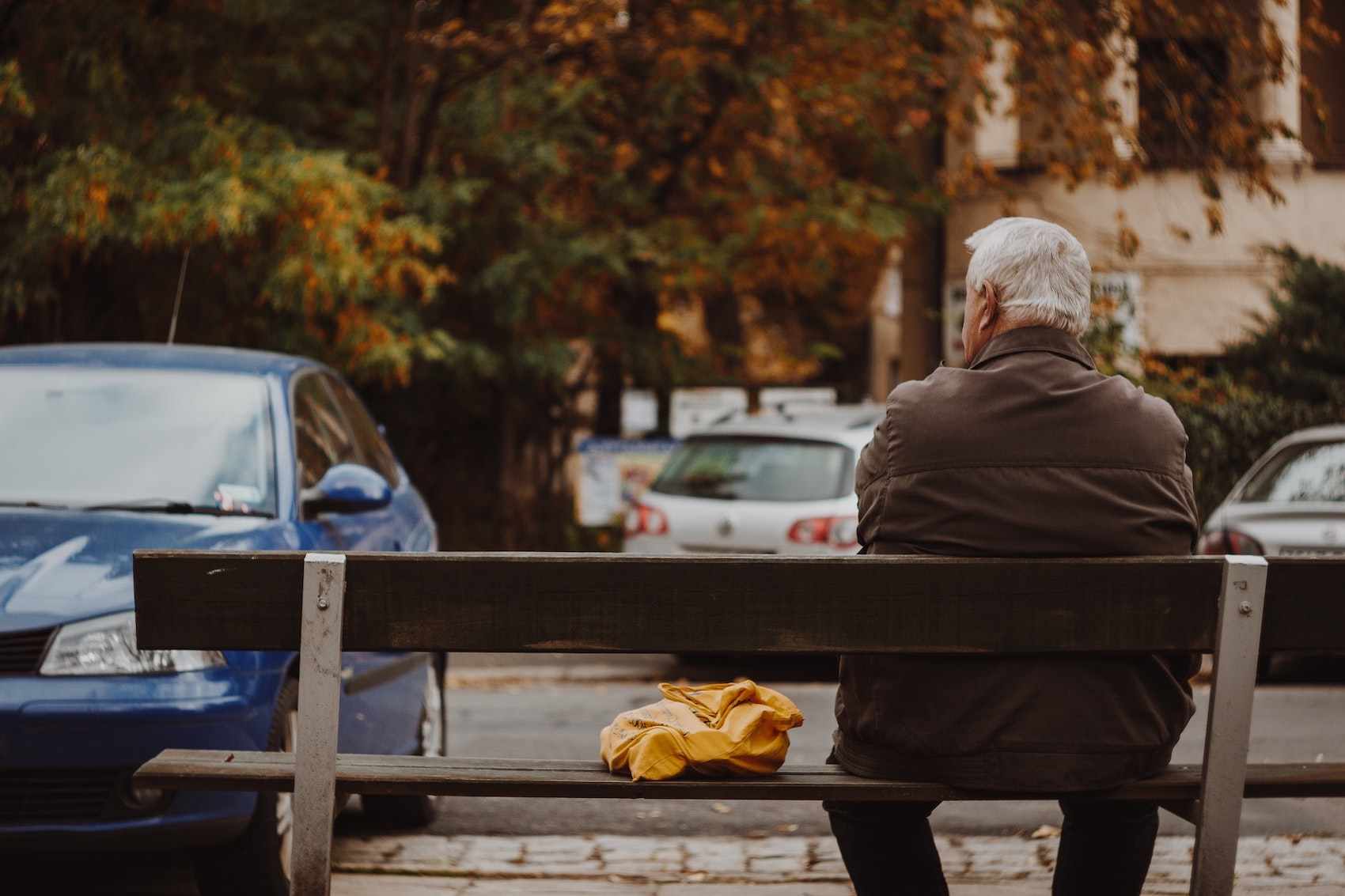 Vi ser en ældre mand bagfra, der sidder på en bænk