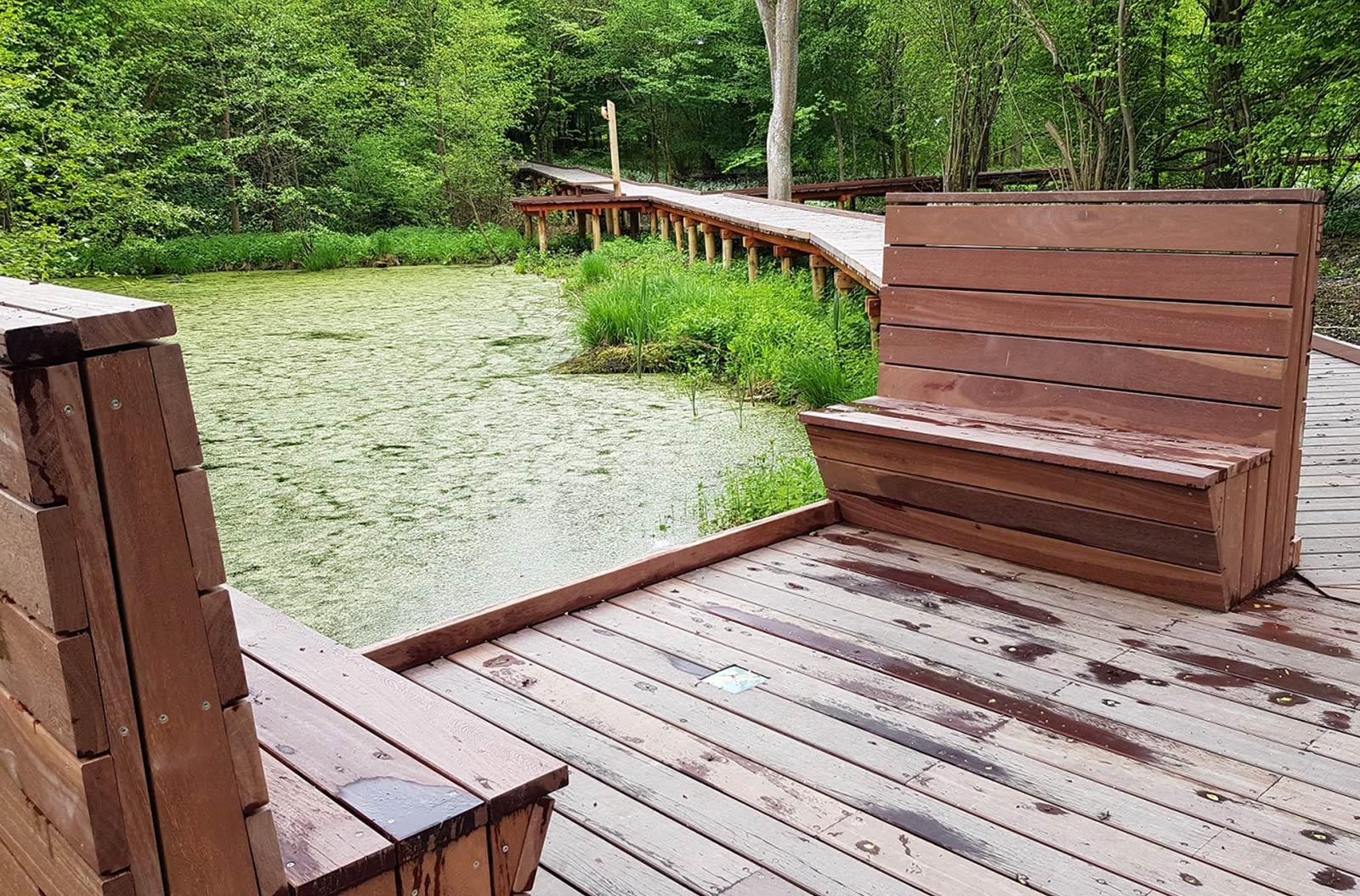 To bænke i træ på en boardwalk, hvorfra der er kig til en sø