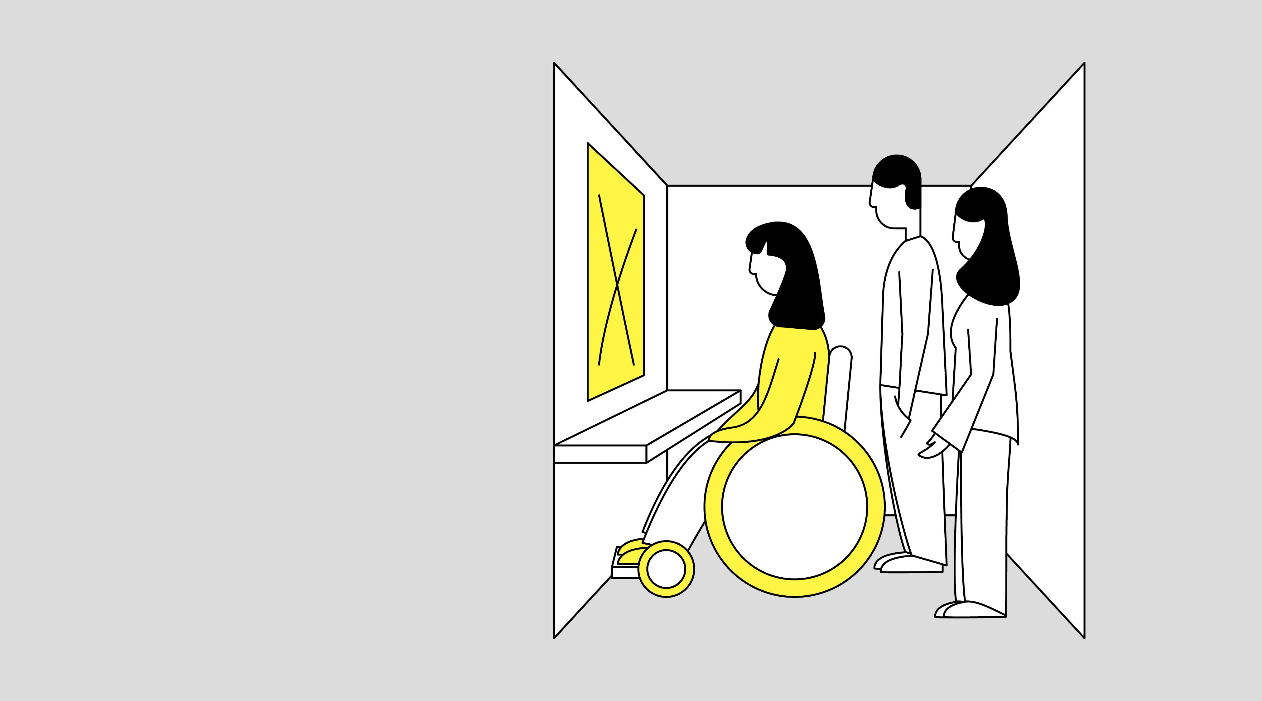 Illustration af kvindelig kørestolsbruger i stemmeboks. Foran hende er et bord, og der hænger en gul seddel på væggen med et stort kryds. Bagved hende står en mand og en kvinde.