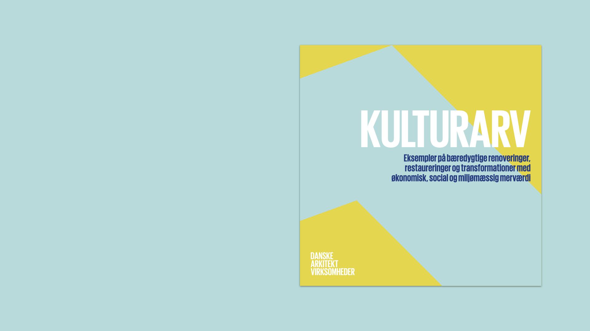 Gul og blå grafik til Danske Arkitektvirksomheders publikation Kulturarv