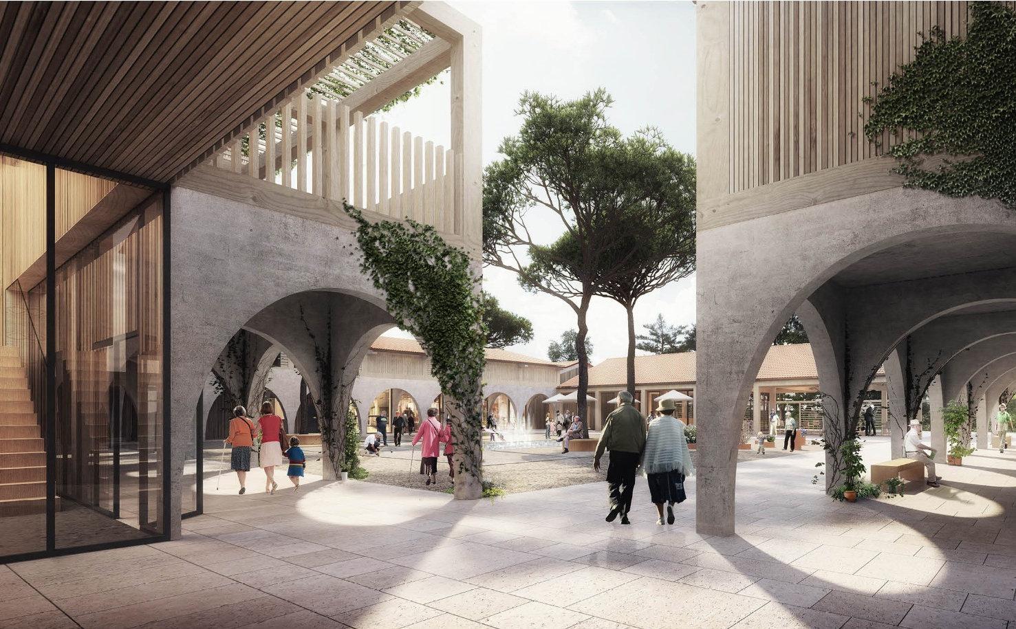 3D-visualisering af et atrium i Alzheimer's Village projekteret af Nord Architects, der taler på symposiet