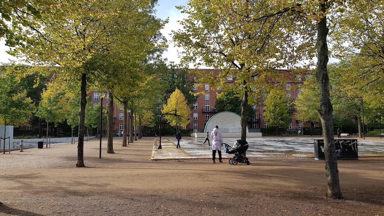 Blik gennem den renoverede Enghave Parken, hvor børn leger og en forælder med barnevogn ser på