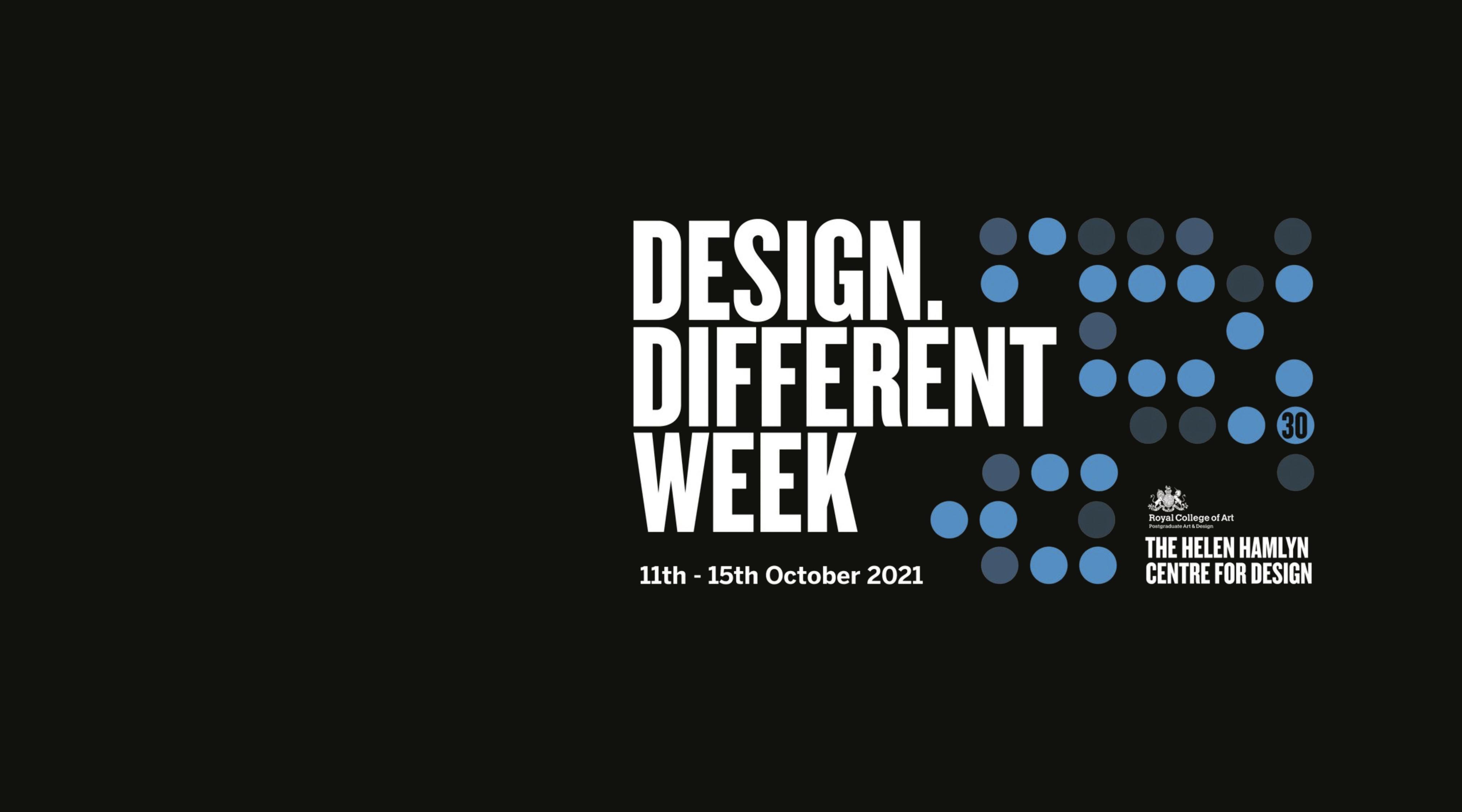 Sort grafik med blå prikker og store hvide bogstaver, der staver DESIGN DIFFERENT WEEK
