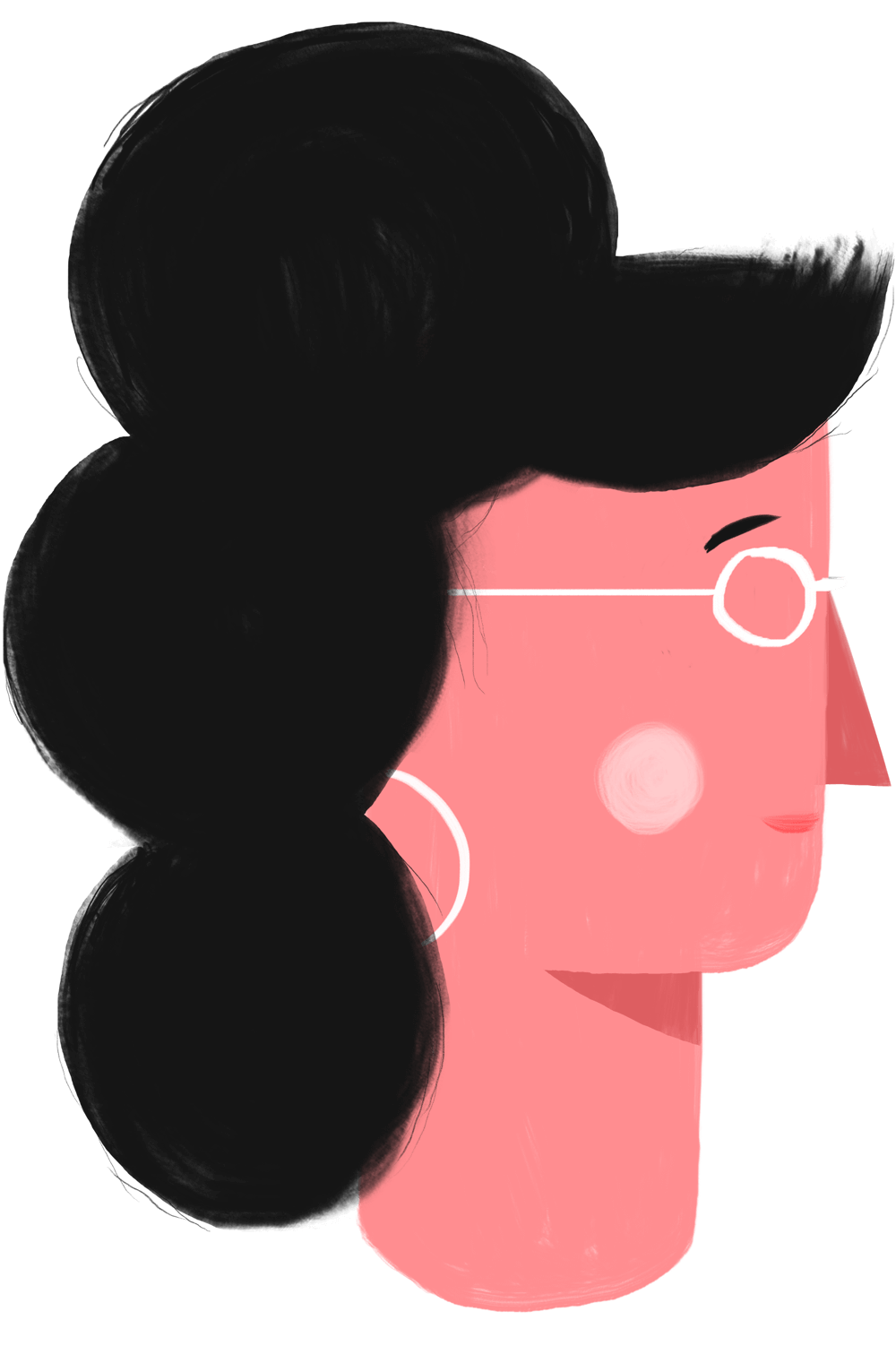 Flat, 2D illustration of a woman's head