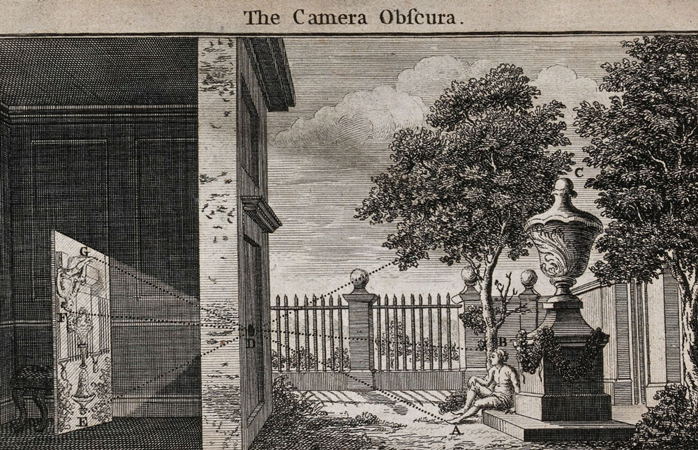 Woodcut illustration showing how a camera obscura works