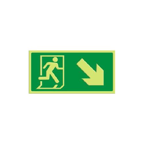 Exit - pil skrå ned høyre