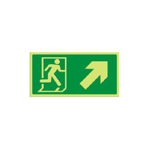 Exit - pil skrå opp høyre