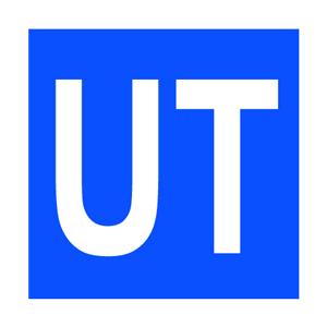 UT - tekst på blå bunn