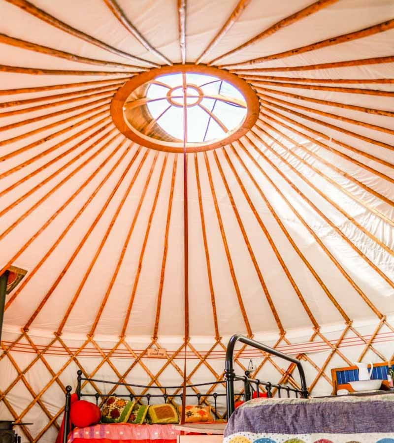 Inside a luxury yurt showing the vaulted ceiling