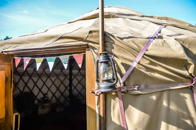 Outside the front door of a luxury yurt