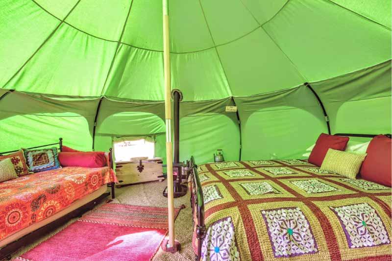 INside a luxury belle tent