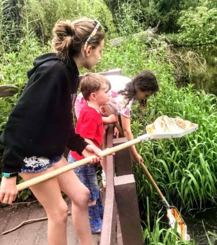 Children fishing at swallowtails