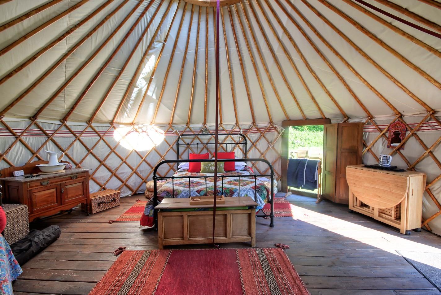 Inside luxury yurt