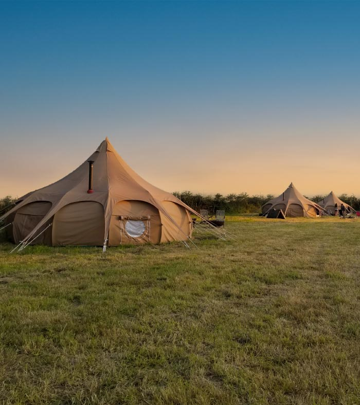 Outside belle tents showing a gorgeous sunset in north yorkshire