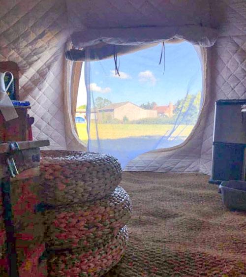 Inside an insulated belle tent