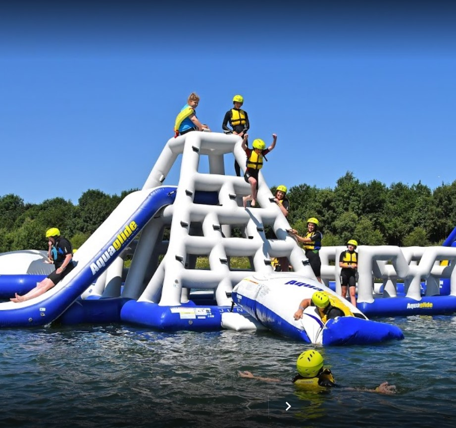 north yorkshire water park - inflatable activity on a lake