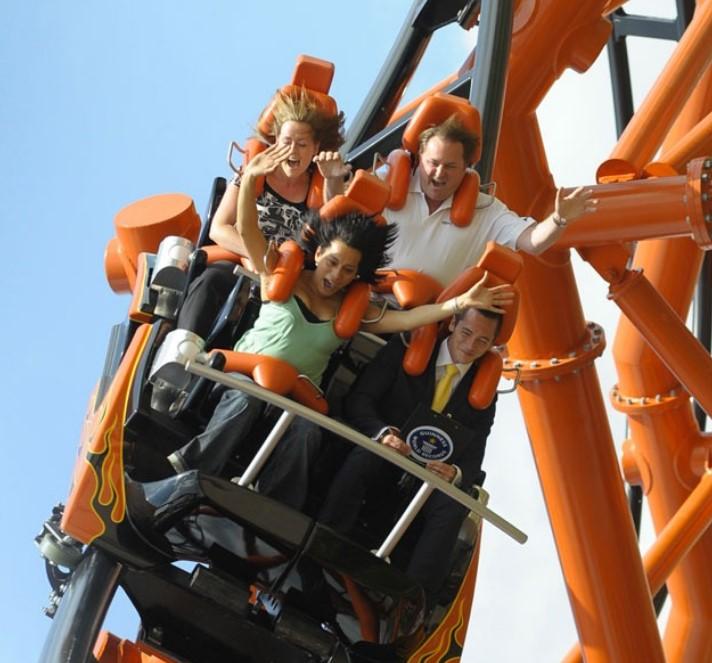 Family enjoying a rollercoaster at Flamingo Land