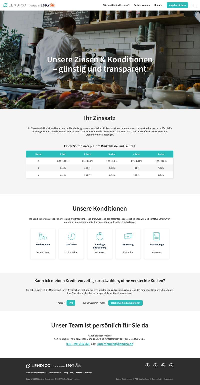 Zinsen und Konditionen - Desktop - lendico.de
