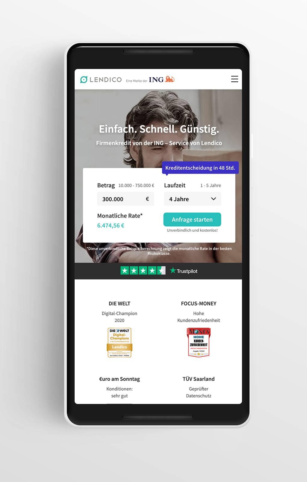 Startseite - Lendico - Mobile