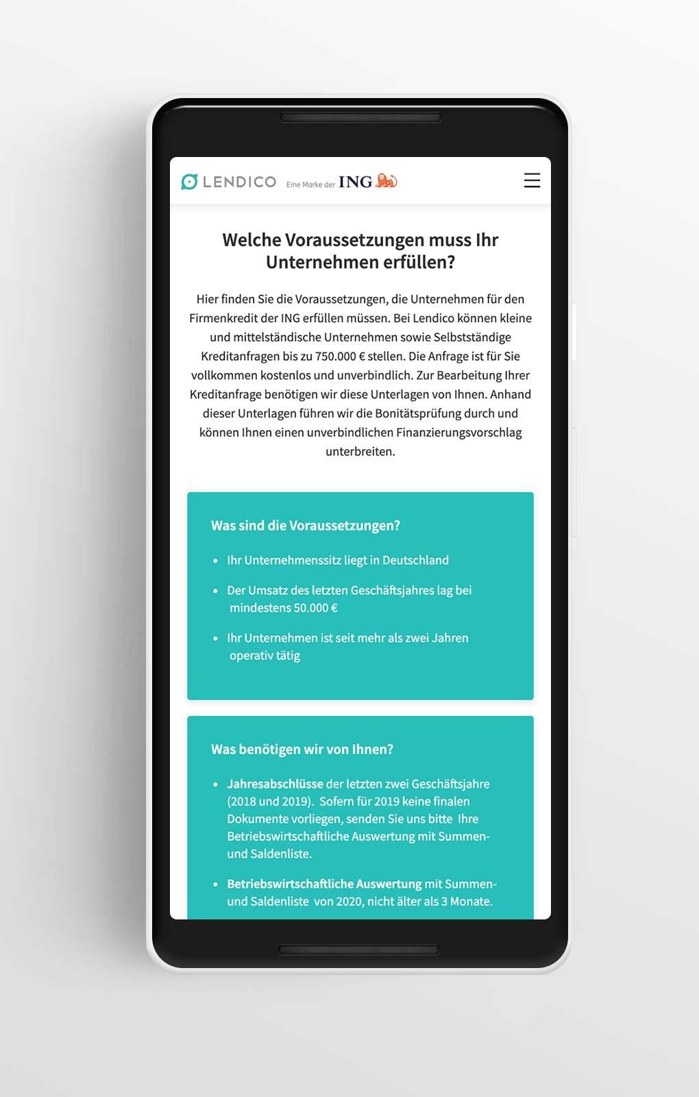 Kredit Voraussetzungen - Lendico - Mobile
