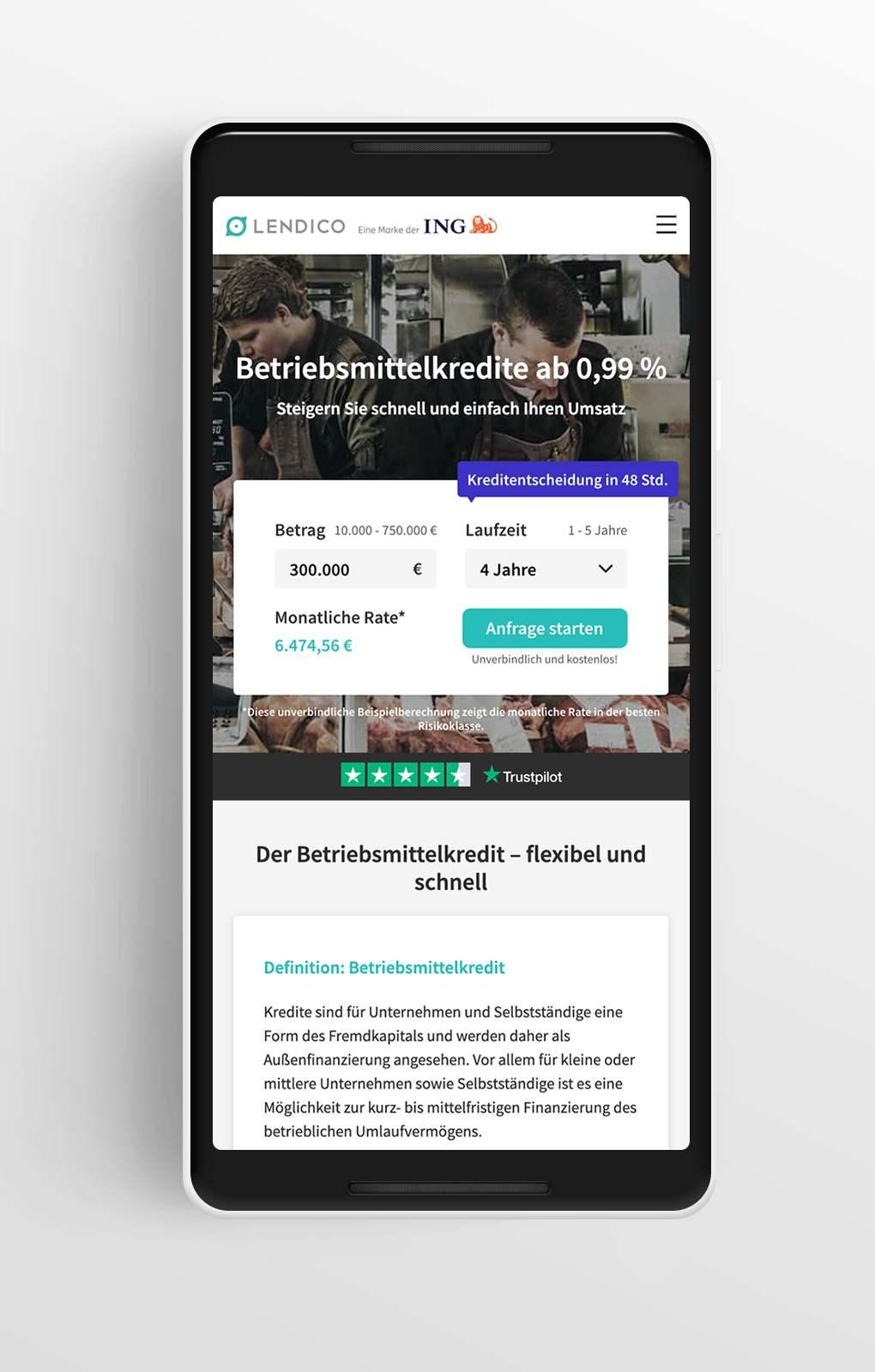 Betriebsmittelkredit - Lendico - Mobile