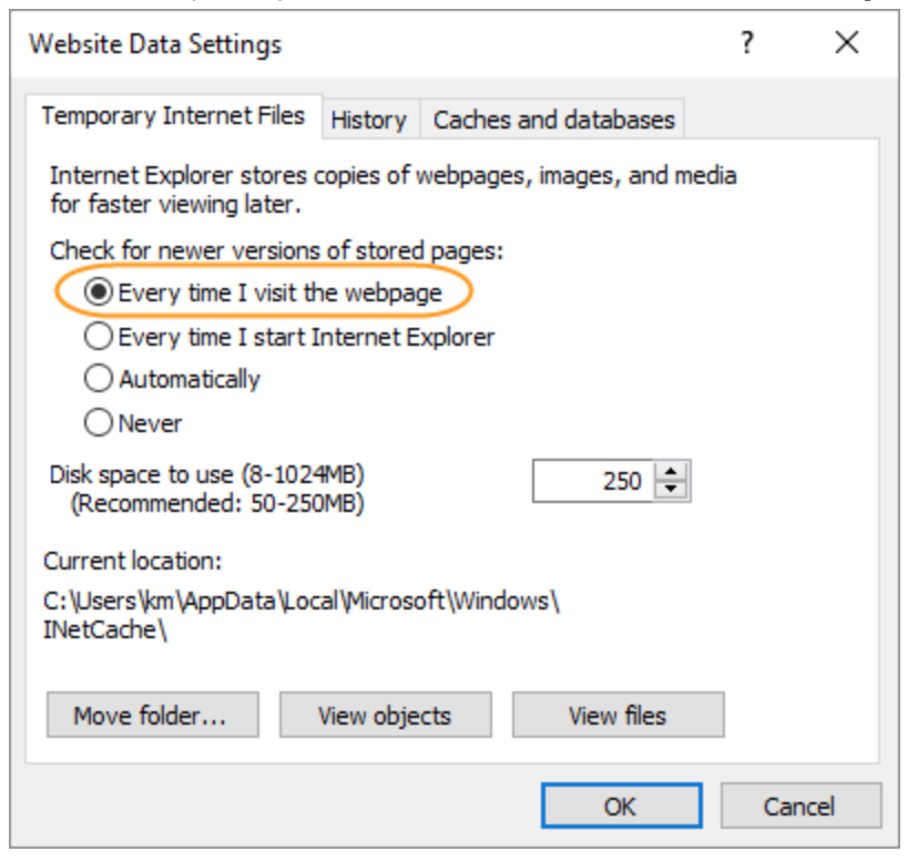 Disable Caching Internet Explorer 11