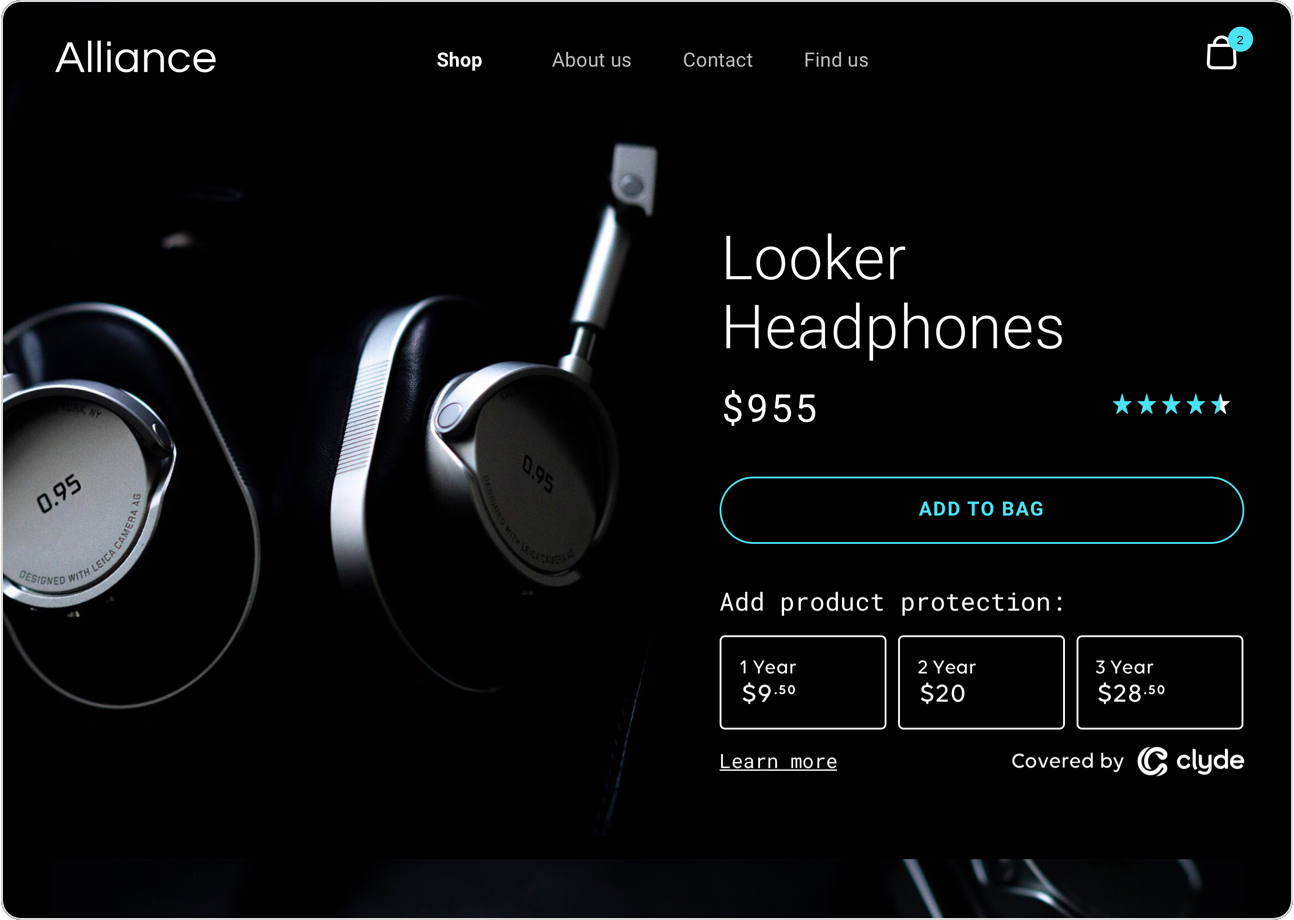 Product page simple prompt view of CTA