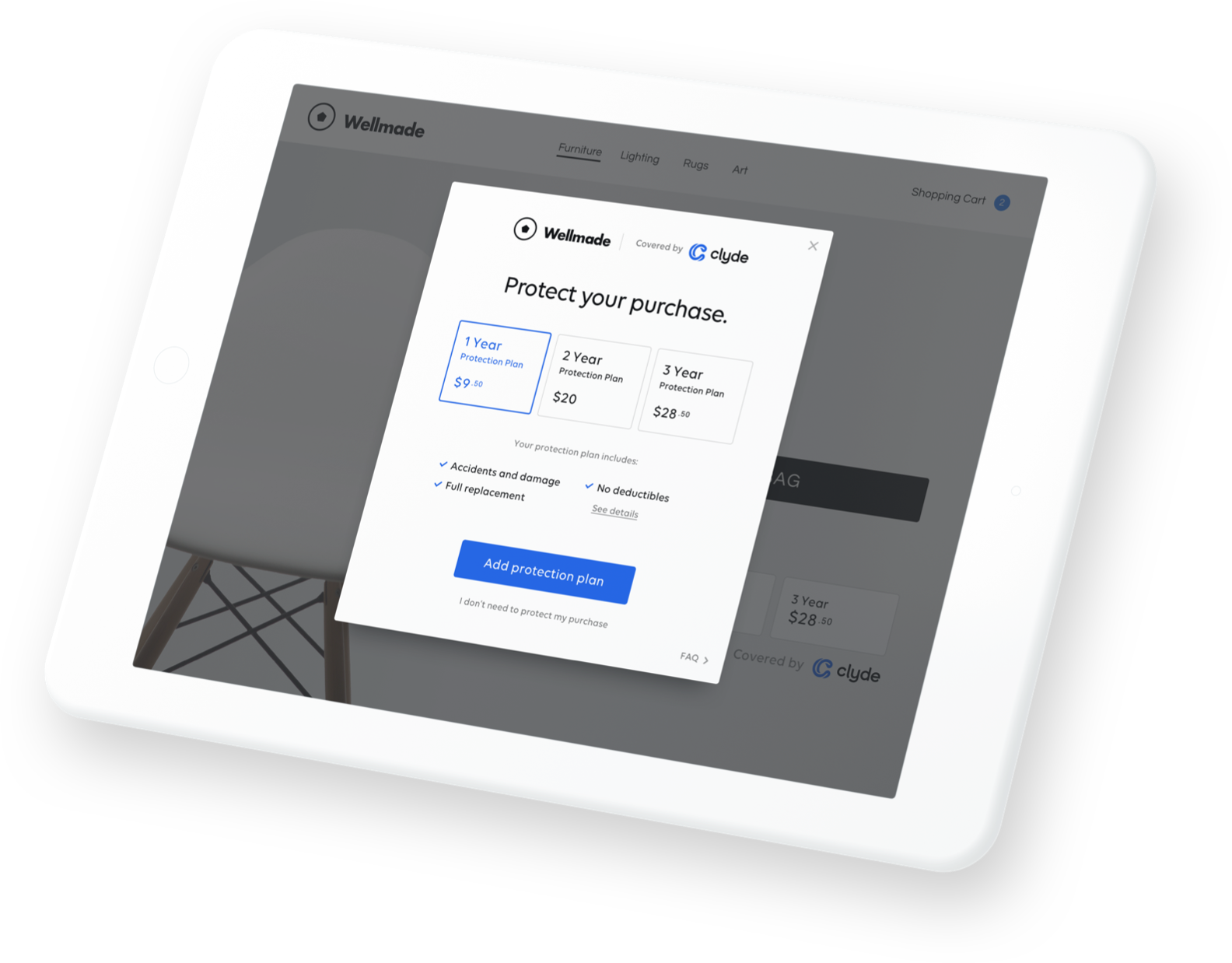 iPad with Clyde Protection Plan offering