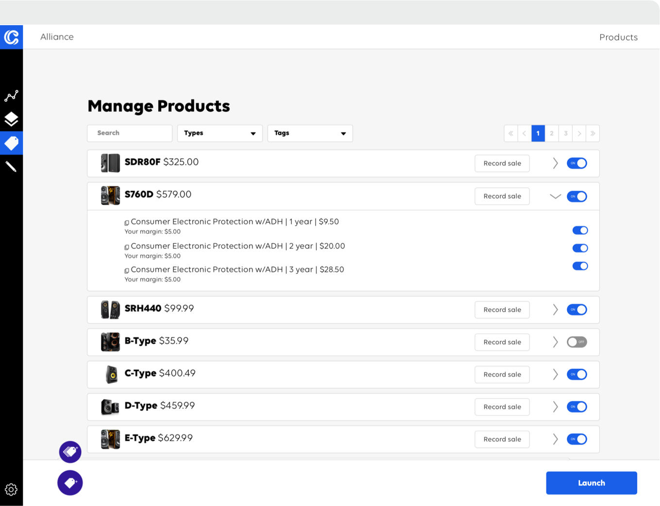 Clyde's merchant platform view - product feed
