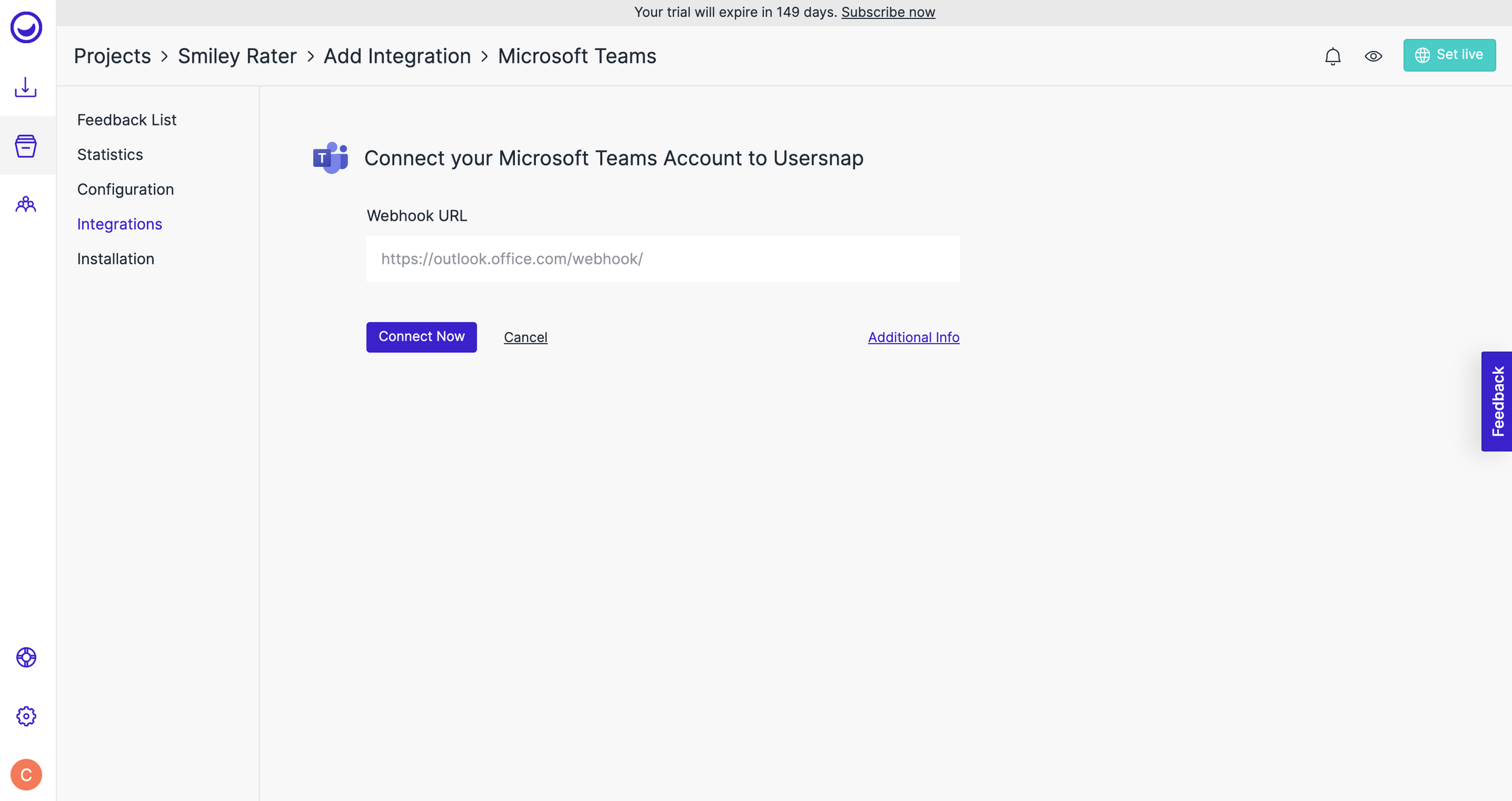 Integrate MS teams and Usersnap