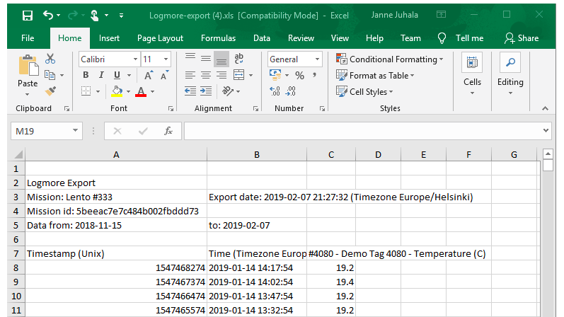Mission-export-excel-from-logmore-web