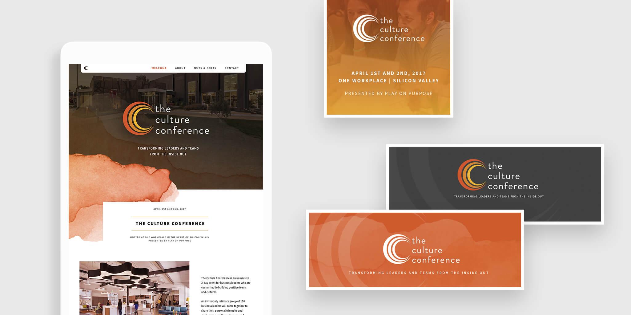 Culture Conference web mockups and social media graphics