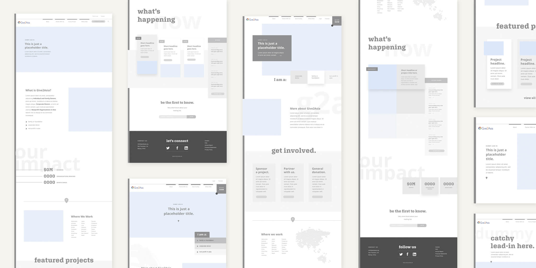 Give2Asia website wireframes